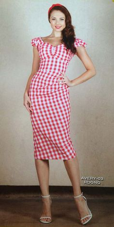 PRE ORDER New Stop Staring AVERY Red and White Check Wiggle Dress - AVERY-03 RDGNG