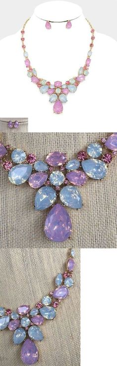 Jewelry Sets 50692: Pink Opalescent Rhinestone Necklace And Earring Set -> BUY IT NOW ONLY: $32.5 on eBay!