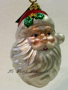 merck family old world christmas merry santa head discontinued blown glass ornament - Merck Family Old World Christmas