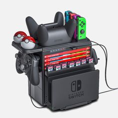 Nintendo Switch Accessories, Gaming Accessories, Accessories Display, Nintendo Room, Nintendo Consoles, Nintendo 3ds, Nintendo Switch System, Nintendo Switch Games, Video Game Rooms