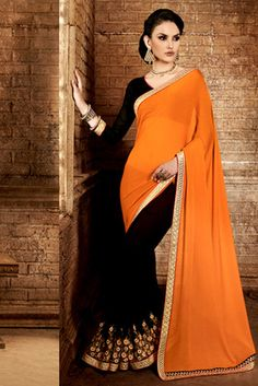 Orange , black embroidered chiffon saree with blouse