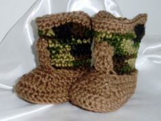 Hand crocheted camouflage and brown cowboy by SarasSpecialtyCroche, $17.00