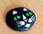 Hand Painted Beach Stone of a Cute Black Cat Face