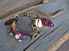 Friendship bracelet, Charm Bracelet, Beach, Boho bracelet, Gypsy, Cowrie shell, leather bracelet, Layered, Multi strand, Ethnic bracelet.
