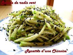 Recettes d'une Chinoise: Juliennes de radis vert en salade 凉拌青萝卜丝 liángbàn qīngluóbosī