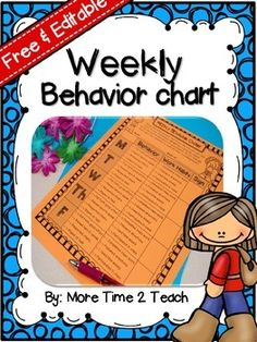 FREE Weekly Behavior Chart {Editable & Free}... For All Subject Areas, Classroom Management, Back to School   1st, 2nd, 3rd, 4th, 5th Printables, Classroom Forms, For Parents...This weekly behavior chart is not only FREE but EDITABLE as well... You also have the option of printing this chart in color or in black and white. If you decide to print in b/w, I recommend you print it on colored paper