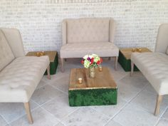 tan tufted couches for rent @ www.hollidayflowers.com