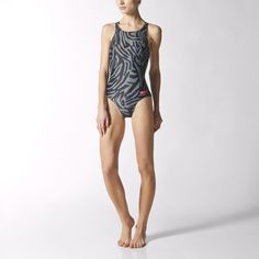 You'll be hard to miss in this women's training swimsuit. The one-piece stands out with its bold allover print from fashion designer Stella McCartney. With a racer-back design, the suit hugs your body with a confident fitted fit. It features INFINITEX® fabric that keeps its elasticity over time, resisting the effects of chlorine for longer wear.