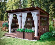 Small Patio Design, Small Backyard Patio, Backyard Seating, Backyard Sheds, Outdoor Pergola, Outdoor Rooms, Backyard Landscaping, Landscaping Ideas, Swimming Pools Backyard