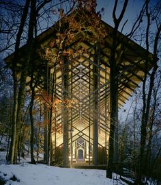 Thorncrown Chapel in Eureka Springs, Arkansas.  This has to be the most beautiful building I've ever come across. It's almost not even a building, in the traditional sense. It looks like it's a part of its environment, like it grew there.
