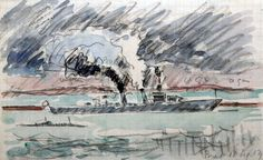Signed Paul Signac, Pencil and watercolour on paper, Le Cuirassé (The Battleship), 1929 Watercolor Landscape, Watercolor And Ink, Rodin Drawing, Georges Seurat, Auguste Rodin, Rembrandt, Claude Monet, Battleship, Art Sketchbook