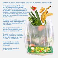 Nota informativa para el reparto de bolsas de orgánico en la ciudad de Donostia- San Sebastian.