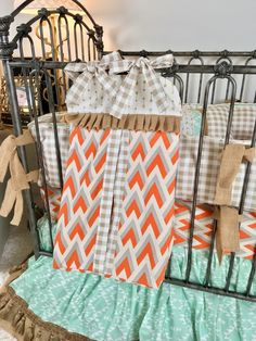 Orange and Grey Arrowhead, Mint Aztec, Burlap, Ivory with Gold Arrows, and Tan Plaid Crib Bedding Baby Boy Bedding, Crib Bedding, Orange Bedding, High End Fashion, Baby Design, Aztec, Cribs, Color Pop, Diaper Bag