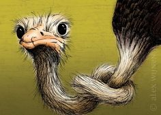 8x10 illustration print: Hard to Swallow (ostrich with knotted neck on green background with brown)