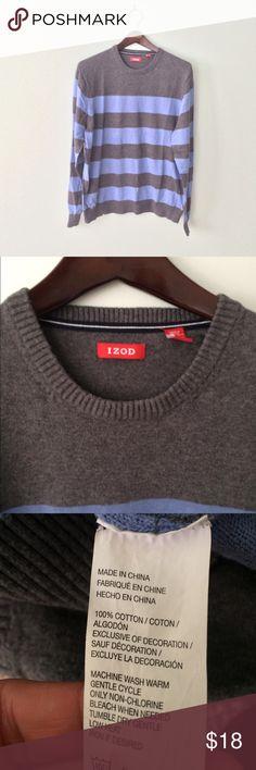 Men's IZOD Blue gray striped Sweater Cotton crewneck sweater. Blue and gray striped. Izod Sweaters Crewneck