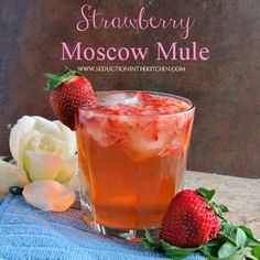Strawberry Moscow Mule, A refreshing twist on the Moscow Mule using ginger ale instead of ginger beer. A recipe from Seduction in the Kitchen.