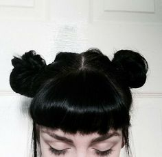 space buns and bangs
