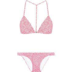 Zimmermann - Belle Polka-dot Bikini ($138) via Polyvore featuring swimwear, bikinis, red, bathing suits bikini, zimmermann bikini, bikini swimsuit, red polka dot bathing suit and polka dot bathing suit