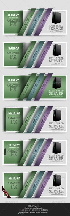 6 Web Sliders2  #GraphicRiver                     FONTS  .fontsquirrel /fonts/Droid-Serif   .fontsquirrel /fonts/Droid-Sans   DOCUMENT   Fully Editable. Layered  72dpi  6 styles slides for your website.  slide Size = 800×375  Place your Text and products     Created: 4November13 GraphicsFilesIncluded: PhotoshopPSD Layered: Yes MinimumAdobeCSVersion: CS3 PixelDimensions: 800x375 Tags: bannerslides #sliders #webpromo #webpromotion #websliders #webslides