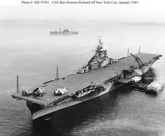 United States Warships Carriers | Details about USS BON HOMME RICHARD CVA-31 NYC HARBOR WW2 1945 PHOTO