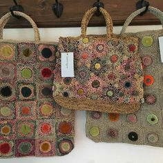 What a gorgeous parcel to open. New Sophie Digard goodies have arrived and will be in store this Saturday. Raffia bags, necklaces and some beautiful summer scarves. Crochet Motifs, Crochet Art, Crochet Patterns, Fabric Bags, Crochet Purses, Knitted Bags, Beautiful Crochet, Handmade Bags, Crochet Projects