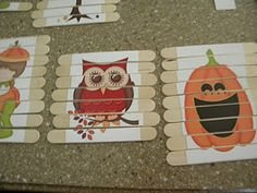 Popsicle Stick Puzzles - I am thinking even letters, sight words, or Halloween/Christmas party game and gifts!