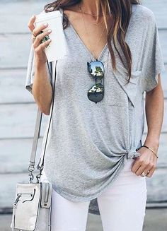 grey pocket tee + white jeans