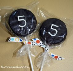 Ding Dongs on a stick for a creative school birthday treat!     My son requested Hockey Puck Cake Pops, Bakerella style, but my improvising took less time and with great results!