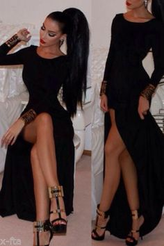 Sexy  Black/Red Long Sleeve Maxi Slim Formal Cocktail Party Gown Evening  Dress #Unbranded #StretchBodycon #Cocktail