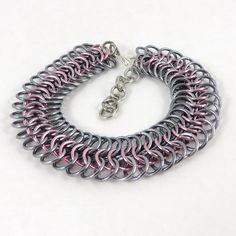 Chainmail Bracelet Pink and Gray by HCJewelrybyRose on Etsy