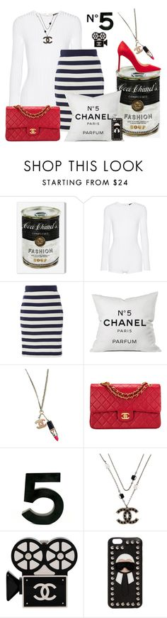 """Navy white red"" by ellenfischerbeauty ❤ liked on Polyvore featuring Oliver Gal Artist Co., Balmain, MDS Stripes, Chanel, Fendi and Jimmy Choo"