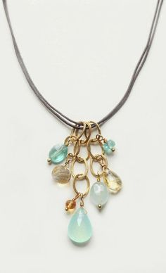 Playa Necklace with Semi Precious Stones Aqua