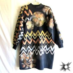 Vintage 1980's Naya Abstract Metallic Hand Painted Oversized Long Sleeved Turtleneck Sweatshirt Sweater Dress Size M/L by SatelliteVintageCo on Etsy