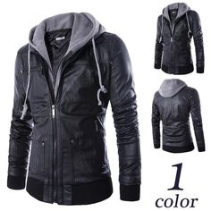 Product Type: Jackets, Hoodies Age Group: Adults, Teenagers Material: Faux leather Feature: Zipper, Hoodie Style:Biker leather jacket Colors:Black Sizes: 4