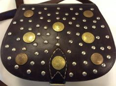 Moroccan Dark Brown Leather Satchel Handbag Coins & Metal Accents