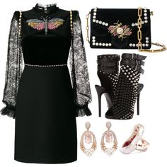 Black by carolineas on Polyvore featuring moda, Gucci, Giuseppe Zanotti, Proenza Schouler and Hueb
