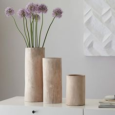 Our Bleached Wood Vases are crafted from mango wood with organic silhouettes and a natural, rough-hewn texture. Due to the nature of the wood, each piece is unique. Decoration Table, Vases Decor, Centerpieces, Decorations, Lathe Projects, Woodworking Projects, Bleached Wood, Wood Vase, Faux Plants