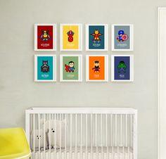 8 affiches super hérospour décoration enfant et par alexiableu, affiche enfant, décoration chambre enfant, chambre garçon, affiche colorée, bleu, orange, turquoise, vert, jaune