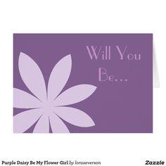 Shop Purple Daisy Be My Flower Girl Invitation created by loraseverson. Flower Girl Invitation, Wedding Invitation Sets, Invites, Thank You Postcards, Thank You Note Cards, Daisy Wedding, Purple Wedding, Floral Wedding Stationery, Wedding Postcard