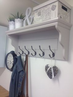 Grey Hallway Coat Rack With Shelf and Cast Iron Hooks - Farrow & Ball Elephants Breath Hallway Coat Rack, Hallway Shelf, Grey Hallway, Tiled Hallway, Hallway Storage, Hallway Ideas, Wall Storage, Storage Boxes, Coat Hook Shelf