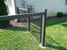 Chain link fence on wood post                                                                                                                                                     More