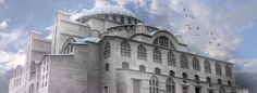 A Reconstruction of Hagia Sophia depicted with a marble exterior Created by Mirko Antonije Malesic
