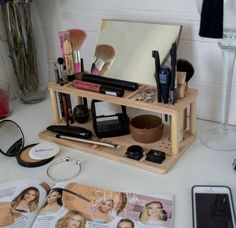 """There are numerous cosmetic business marketing mineral makeups by different names, however all versions of mineral makeup have a typical component. They all contain """"natural"""" minerals. Wood Makeup Organizer, Makeup Organization, Wooden Organizer, Décor Violet, Makeup Storage Drawers, Makeup Stand, Makeup Holder, Make Up Organiser, Eye Makeup Tips"""