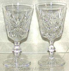 "Vintage Pair of Edinburgh Crystal Star of Edinburgh Pattern Crystal Cut Glass 6 3/8"" Tall Wine Hocks c1970's by #GalleryAntiques"