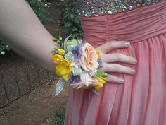 Prom Flowers - Wrist Corsage in coral, yellow, lavender and white