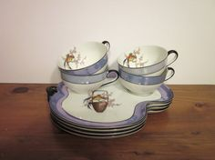 Noritake M Snack Set, Cup and Plate, Hand Painted, Made in Japan, Vintage, Mid Century