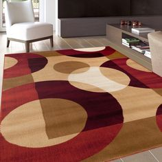 This gorgeous contemporary and casual rug is a dream for interior decorators, and showcases lovely rich colors like beige and burgundy.