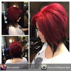 one_salon's photo on Instagram. I love this, would reverse the colors though. Two toned. Two tone. Red. Black. Hair. Bob.