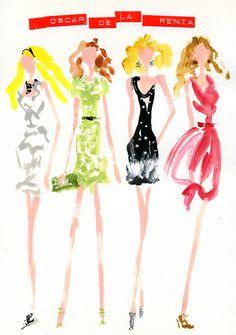 """Oscar de la Renta: Spring 2012 RTW"" I love white lace dress Daphne wore and green dress of knit Jac wore.Those are very delicate. オスカーデラレンタ Spring 2012 RTW ダフィーの白いレースのドレスと、ジャックの緑のニットドレスが好き。とっても繊細。"