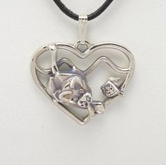 """Sterling Silver Siamese Cat Pendant w/ 18"""" Sterling Chain by Donna Pizarro fr Animal Whimsey Collection of Cat Jewelry"""